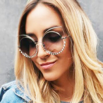 Vintage Round Rhinestone Cat Eye Sunglasses Women Brand Design Shades