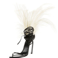 Saint Laurent Talitha Feather-Embellished Ankle-Wrap Sandal
