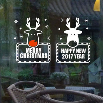 64 x 38cm Cute Elk New Beauty Merry Christmas Wall Art Removable Home Vinyl Window Wall Glass Stickers Decal Decor Happy Gifts
