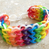 Rainbow Rubber Band Bracelet (Six Colors On White)