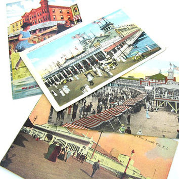 Atlantic City Beach Postcards Set Steeplechase Steel Young's Piers & Bonus Fralingers Saltwater Taffy Repro Antique 1910s Summer Beach Decor
