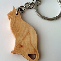 ON SALE, 15% OFF Wooden Cat Keychain, Birch Wood, Animal Keychain, Environmental Friendly Green materials