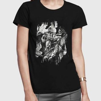 Batman Half Sleeves Women Black,White,Gray T-shirt