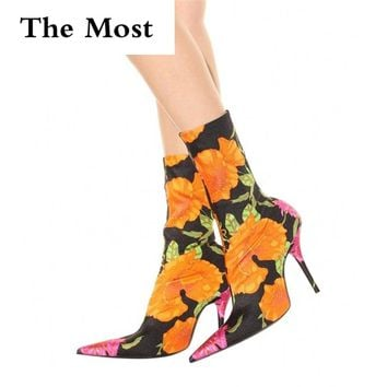 THEMOST Floral Print Sexy Stiletto Sock Women Booties Stretch Pointed Toe High Heels Ankle Boots Fashion Botas Mujer Shoes Women