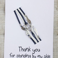 Thank You For Standing By My Side Gift Card Unisex Hippe Infinity Firnedship Bracelet