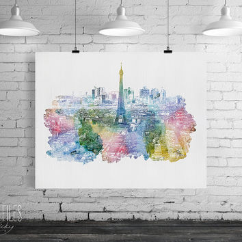 Paris watercolor art, Paris print, Poster, Wall art, City watercolor, Art print, Gift, Home Decor, Digital Print, Art Print, ArtFilesVicky.