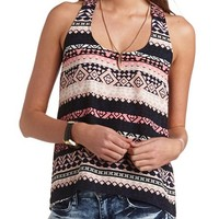 TRIBAL PRINT T-BACK TANK TOP