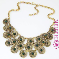 FLOWER VINTAGE HOLLOW OUT STATEMENT NECKLACE