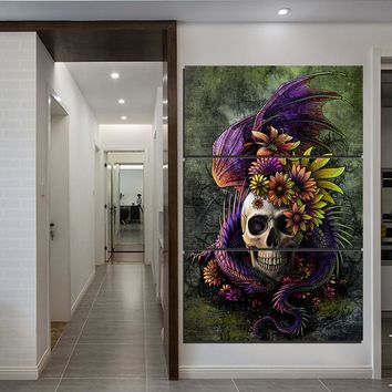 HD print 3 piece vertical panel canvas art picture Flowery Skull by Sunima-MysteryArt