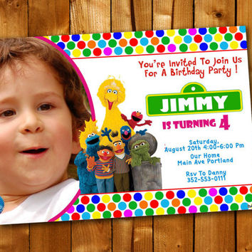Sesame Street Polka Dot, Birthday Invitation, Birthday Party for little boy and little girl
