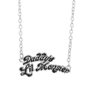 Name Necklace Jewelry Suicide squads jewellery Harley Quinn Necklaces Daddy's Lil Monster Clown Pendant Necklace logo cosplay