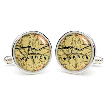 Warren  city map cufflinks , wedding gift ideas for groom,perfect gift for dad,great gift ideas for men,groomsmen cufflinks,presents  gift