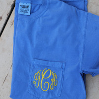 Monogrammed Comfort Colors Pocket Tee (Frocket)