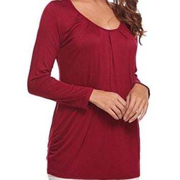 Halife Womens Front Pleated Tunic Shirts Scoop Neck Draped Shirring Blouse Tops
