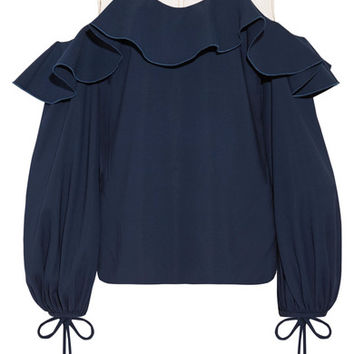 Oscar de la Renta - Tulle-trimmed stretch-silk top