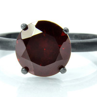 8mm Almandine Garnet Tiffany Set Solid Silver Ring with Unique Black Patina