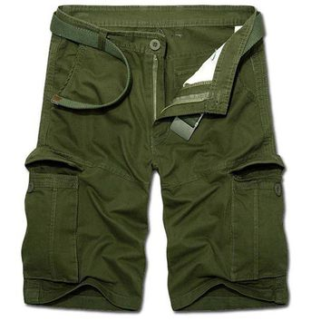 DCCKON3 4 Colors Plus Size 2017 Man Summer Casual Cargo Shorts Army Combat Camo Shorts Male Solid High Quality Straight Army Green