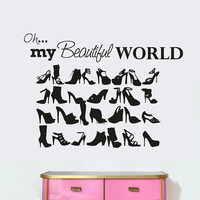 Wall Decal Vinyl Sticker Decals Art Decor Design Sing Girl Shoes  Woman Quote Lettering Bedroom Modern Fashion Style shopping (r1000)