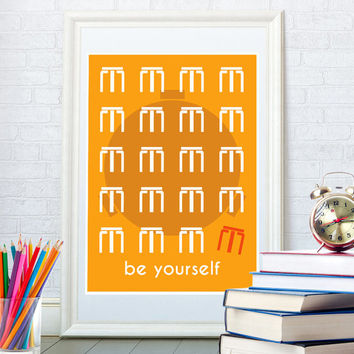 Inspirational quote art print, Famous saying retro poster, Minimalist art, Custom colors, Be yourself, Alvar Aalto stool home decor