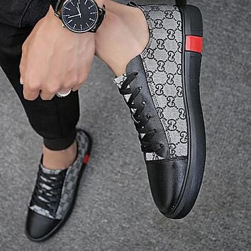 GUCCI Fashion Men Casual Canvas Sneakers Sport Shoes Grey