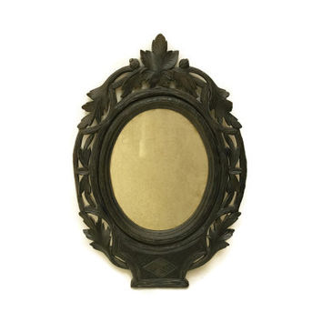 Black Forest Oval Mirror. Antique Carved Wood Mirror. Black Forest Wooden Vanity Mirror. Oval Mirror in Black Frame. Gothic Mirror.