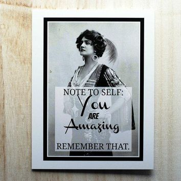 Note To Self: You Are Amazing  Remember That Funny Vintage Style Happy Graduation Congratulations Greeting Card FREE SHIPPING