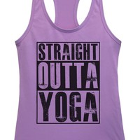 Womens Straight Outta Yoga Grapahic Design Fitted Tank Top