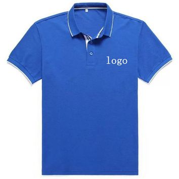 DIY LOGO Customization Men's Brand Polo Shirt EMBROIDERY OR PRINT TEXT LOGO Designer Polos custom company uniforms polos shirts