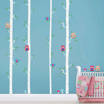 Birch decals trees wall decals owls wall decals Woodland wall decals for Nursery foliage Wall Decals kids wall decal kcik1785