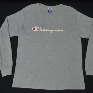 CHAMPION Shirt Vintage 90's Champion Authentic Athletic Apparel Made In USA Big Logo Spell Out Long Sleeve Tee T Shirt Size L