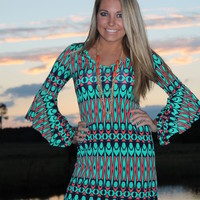 Bangles Boutique — BELL SLEEVE TRIBAL PRINT SHIFT DRESS