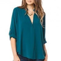Pearson Blouse in Teal - ShopSosie.com