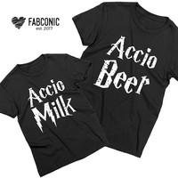 Accio Milk, Accio Beer, Daddy and me matching shirts, Daddy and me outfits, Father son matching shirts, Screen-printed