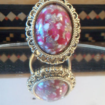 Vintage Pink Speckled Adjustable Ring Uncas Costume Jewelry Size 11.5
