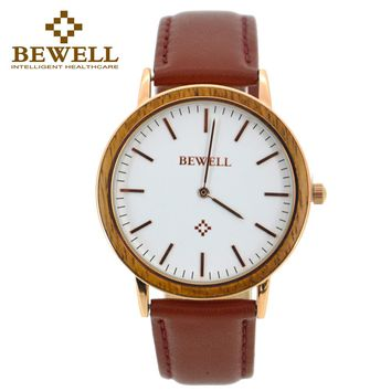 BEWELL Womans Watches Luxury 2016 Gold ladies Watch Nature Wood QuartzWatch Relogio feminino Wristwatch With Paper Box 1051A