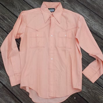 Vtg Men's Pointed Collar Western Style Peach Shirt - Cromwell Court - SZ M 15 1/2