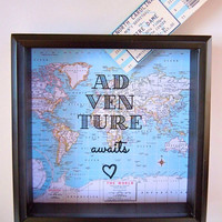 Ticket Holder - Map with Text Background - Drop Top Shadow Box  - Ticket Keeper - World Map - Valentine's Day Gift - Travel Theme