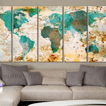 """XLARGE 30""""x 70"""" 5 Panels Art Canvas Print World Map Watercolor texture Old Wall Home ( framed 1.5"""" depth)"""