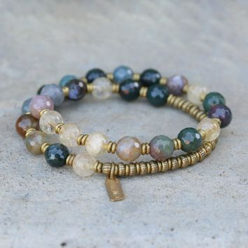 Prosperity and Success, Jasper and Citrine Mala Bracelet