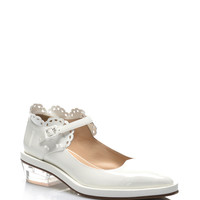 White Patent Scalloped Mary Janes