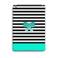 Blue Glitter Bow Stripes Cute Pattern iPad Air Case, iPad Mini Case