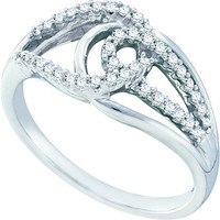 Round Diamond Ladies Fashion Ring in 14k White Gold 0.25 ctw