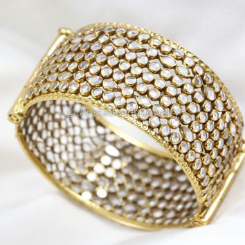 Hinged Opening 925 Silver Polki Bangle