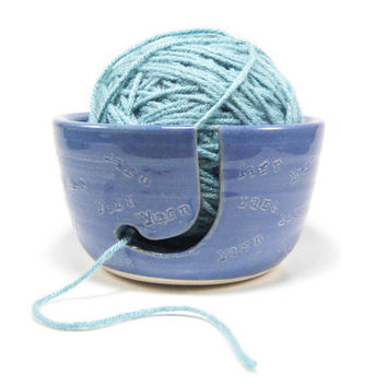 Ceramic yarn bowl - blue pottery crochet bowl - Mother's day yarn bowl - crochet bowl - pottery knitting bowl - yarn caddy - ready to ship