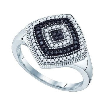 10KT White Gold 0.25CTW BLACK DIAMOND MICRO PAVE RING