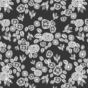 Bees in the Garden - Charcoal by Andrea Lauren - andrea_lauren - Spoonflower