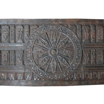 "Konark Wheel Hand Carved Wood Wall Art Yoga Interior Decor 72"" X 36"""