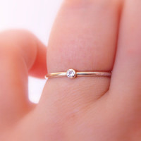 Tiny Gold White Topaz Ring:  14K Solid Gold ring, white topaz, dainty ring, simple ring, gold ring, tiny ring, wedding ring, engagement ring