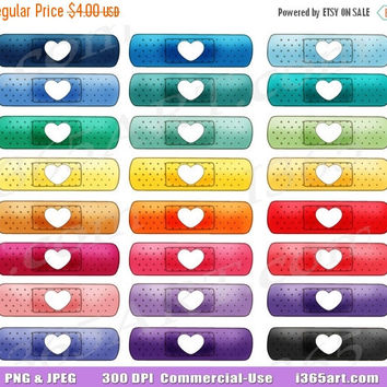 50% OFF SALE Bandage Clipart, band aid clip art, First Aid, Bandaid, Medical Supplies Clipart, Planner Graphics, Digital Stickers, PNG