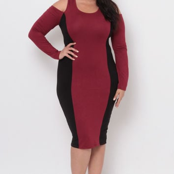 Plus Size Jersey Knit Panel Dress - Burgundy